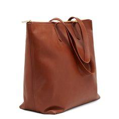 Classic Leather Zipper Tote from Cuyana in chestnut $250