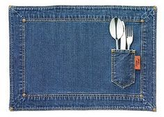 Blue jean placemats, love the silverware pocket...but isn't it on the wrong side?