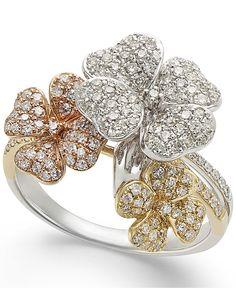 Effy Diamond Tri-Tone Flower Ring in Gold ct. 8 Carat Diamond Ring, Yellow Diamond Rings, Diamond Cluster Engagement Ring, Diamond Flower, Antique Engagement Rings, White Gold Rings, Diy Jewelry Rings, Amber Jewelry, Gemstone Jewelry