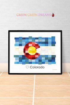 Colorado Flag Print Poster Wall art Colorado US State flags Colorado CO printable download Home Decor Digital Print gift GreenGreenDreams