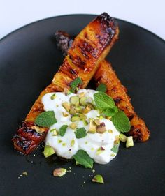 Roasted Pineapple with Creme Fraiche and Pistachios