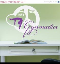 4th of July Sale - Peace, Love, Gymnastics Vinyl Wall Decal (Interior