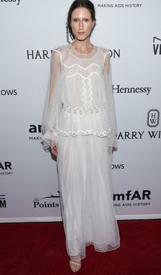 Ethereal elegance – Anna Cleveland looked mesmerising at the Annual AMFAR Inspiration Gala in New York wearing a white lace dress from our Fall 2016 collection, June 2016. #chloeGIRLS