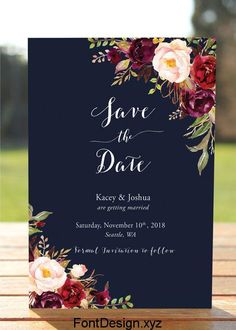 Wedding Planning Navy Floral Save The Date card Bohemian Wedding Save the Navy Save The Dates, Floral Save The Dates, Wedding Save The Dates, Blush Wedding Invitations, Save The Date Invitations, Save The Date Cards, Customized Invitations, Invites, Fall Wedding Flowers