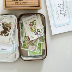 Tiny boxes of  vintage stamps - Bohème Circus