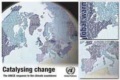 Map illustration for the cover of the report Catalysing change - the UNECE response to the climate countdown. The graphics shows the member states of the UNECE with terms related to climate change in the background.