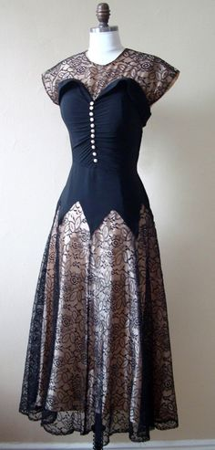 Vintage 40s 50s Nude Illusion Lace and Crepe Black Cocktail Party Dress S-RESERVED for ccarlay