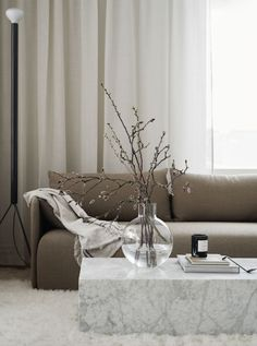 Modern Home Decor Beautiful living room with white curtains beige sofa and extra-ordinary coffee table.Modern Home Decor Beautiful living room with white curtains beige sofa and extra-ordinary coffee table Living Room Decor Curtains, Living Room Sofa, Living Room Interior, Home Interior Design, Modern Interior, Contemporary Interior Design, Dining Rooms, Interior Styling, Living Room Inspiration
