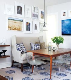 Stencil the plain rugs you find (whih are usually inexpensive....Cost Plus?) to match your decor instead of searching for the perfect rug! Genius!