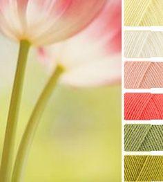 Lemon, Cream, Apricot, Shrimp, Meadow, Lime (Stylecraft Special DK Yarn Colour Palette) Blanket inspiration