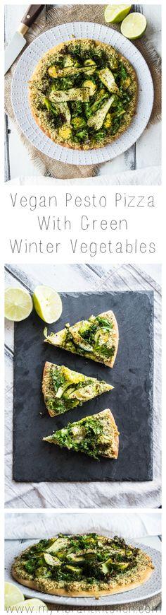 My Vibrant Kitchen | Vegan Pesto Pizza with Green Winter Vegetables | myvibrantkitchen.com