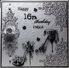 black and white tattered lace birthday card