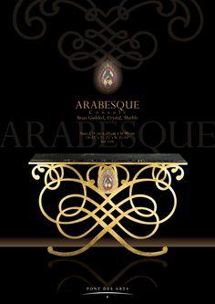 Arabesque Console - Brass And Crystal - Designer Monzer Hammoud - Pont des Arts Studio-Paris
