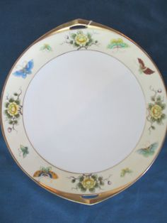 Vintage Nippon Handpainted Butterfly and Floral Plate by BitofHope