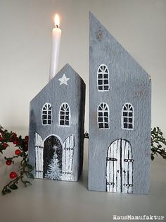 Ideas and Inspirations: Holzhäuser * woodenhouses Wood Block Crafts, Wood Blocks, Wood Projects, Dyi Crafts, Wooden Crafts, Home Crafts, Christmas Wood, Christmas Crafts, Christmas Decorations