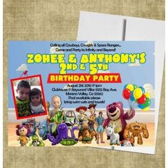 Toy Story Gang Birthday Invite, Photo Card invitations Toy Story Invitations, Invitation Cards, Birthday Invitations, Invite, Photo Cards, Birthday Ideas, Baseball Cards, Toys, Party
