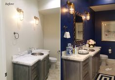 diy-navy-blue-powder-bath-before-after Heirloom China by Clark & Kensington