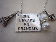 She dreams in french eiffel tower charm necklace by billetsdoux, $28.00