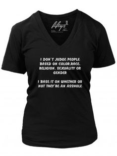 "Women's ""I Don't Judge"" V Neck Tee by Fifty5 Clothing (Black)"