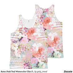 Aztec Pink Teal Watercolor Chic Floral Pattern All-Over Print Tank Top