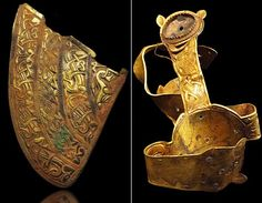 South Staffordshire hoard; gold - showing part of an Anglo Saxon helmet and a folded cross.