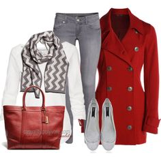 """Chevron Scarf & Red Bold"" by casuality on Polyvore"