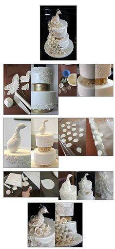 Peacock cake Cake Topper Tutorial, Fondant Tutorial, Cake Toppers, Diy Tutorial, Peacock Cake, Peacock Wedding Cake, Peacock Theme, Wedding Cakes, Cake Decorating Techniques