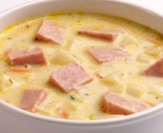 2 strips bacon 1/2 medium onion, diced 2 cups water 1 potato, diced 1- 12 oz. can spam, diced 1 can creamed corn 2 cups milk salt & pepper to taste