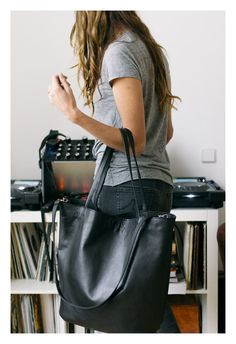 leather tote bag women tote bag in black leather by ArchiveLuxe