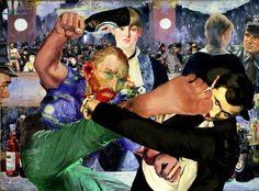 O artista americano Barry Kite desvia as famosas obras-primas da pintura clássica para criar composições engraçadas a partir da colagem.