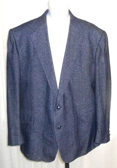 Pagano West Men's Blue Tweed Two Button Western Sports Coat Jacket 48R  READ #PaganoWest #WesternSportsCoatJacket