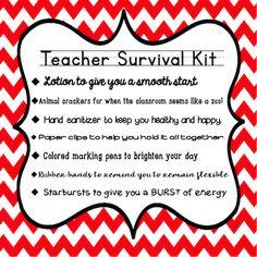 Teachingisagift: new teacher survival kit great for back to school Schul Survival Kits, Survival Kit For Teachers, Survival Supplies, Survival Prepping, Wilderness Survival, Survival Skills, Survival Food, Survival Hacks, Survival Shelter