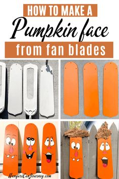 Fall pumpkin decoration from repurposed ceiling fan blade This Fall turn old ceiling fan blades into fun pumpking faces. Recycled Bottle Crafts, Upcycled Crafts, Repurposed, Handmade Crafts, Recycled Garden, Diy Crafts, Garden Crafts, Ceiling Fan Parts, Ceiling Fan Blades