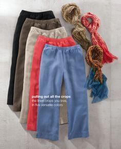 easy linen cropped pants & batik-print scarf