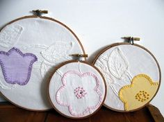 Vintage Linens/Embroidery to wall art by thecareerscrapper