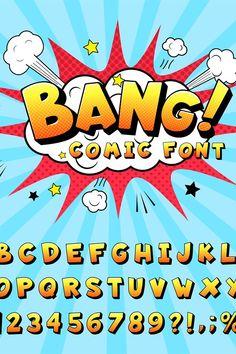 Comic Book Font, Comic Book Layout, Free Comic Books, Letras Comic, Superhero Font, Sharpie Shoes, Cartoon Font, Typography Alphabet, Book Letters