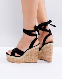 e5a2c54d390 ASOS TAMBOURINE Tie Leg Wedges - Black Black Shoes