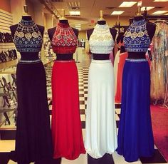 Buy Long Two-pieces Prom Dress Party Dress- High-neck Chiffon Beaded Prom Dresses under US$ 289.99 only in SimpleDress.