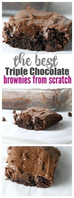 The BEST OOey Gooey Chocolate Brownies from Scratch recipe you'll ever find! PLUS we have a chocolate frosting for brownies recipe that will blow your mind! Chocolate Frosting For Brownies, Brownie Frosting, Chocolate Desserts, Homemade Brownies, Homemade Chocolate, Chocolate Truffles, Frosted Brownies, Cookie Brownies, Homemade Vanilla