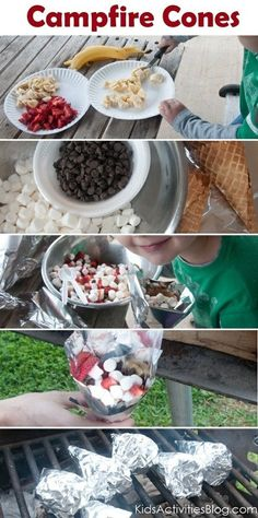 Camp Fire Food: Fruit & Smore Cones (Note: Obviously for a camping trip where you won't be carrying gear far from you vehicle. Designed for a family camping trip to accommodate campers of all ages and levels of experience. Camping Meals, Kids Meals, Camping Hacks, Camping Cones, Camping Recipes, Family Camping, Camping Dishes, Diy Camping, Camping Cabins