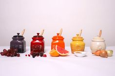 Le Creuset stoneware jars, I have the berry, strawberry, honey and garlic pots, love them :D