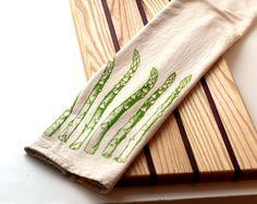 Deluxe Natural Flour Sack Towel - Asparagus - Hand Screen Printed. $12,00, via Etsy.