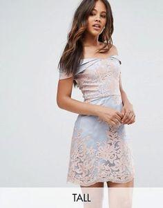 1bef9b7cfdf6 Chi Chi London Petite High Neck Lace Midi Dress with V back at asos.com