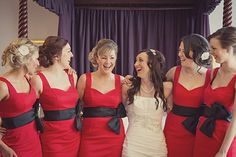 Fabulous ladies in red for Sarah and David's real wedding featured in Your Yorkshire Wedding issue 8. Image courtesy of Lissa Alexandra Photography www.lissaalexandraphotography.com