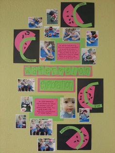 Preschool classroom, wall display, art display, project documentation, photos, evidence of learning, watermelon project, sensory exploration, art, sense of touch, sense of taste, fine motor skills, hand-eye coordination