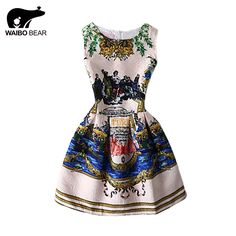 Latest 2016 A-Line Vintage Beach Printing Sleeveless Mini Club Dress Casual Vestidos Woman Tutu Short Dresses WAIBO BEAR