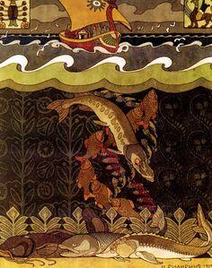 Ivan Bilibin (Russian, 1876 – 1942). The Bogatyr Volga Transforms Himself into a Pike, illustration for the Russian Fairy Tale, 'The Volga', St Petersburg, 1903