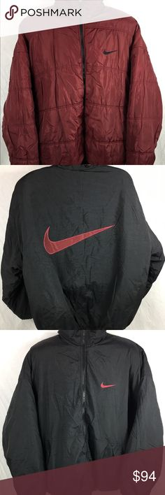 Vintage Nike Big Swoosh Reversible Puffer Jacket Jacket is in excellent condition. No rips or stains. Zipper works just needs to be lifted when zipping. Easy fix. Has a lot of life left in it. See pictures for details. NO TRADES. Any questions feel free to contact me. Nike Jackets & Coats Puffers