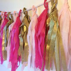 Tissue paper tassel banner. Baby girl shower decor.
