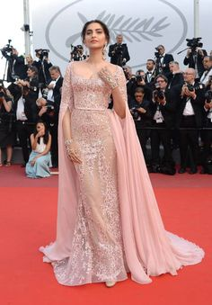 Sonam Kapoor innElie Saab attends the 'The Meyerowitz Stories' screening during the 70th annual Cannes Film Festival at Palais des Festivals on May 21 2017 in...